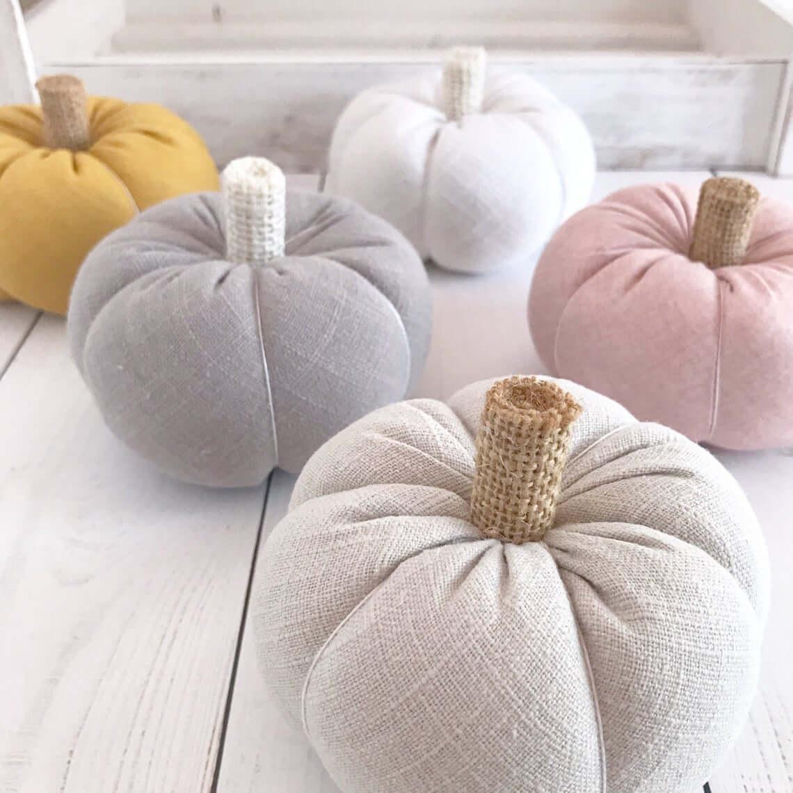 Gorgeous Burlap and Tweed Textured Fabric Pumpkins