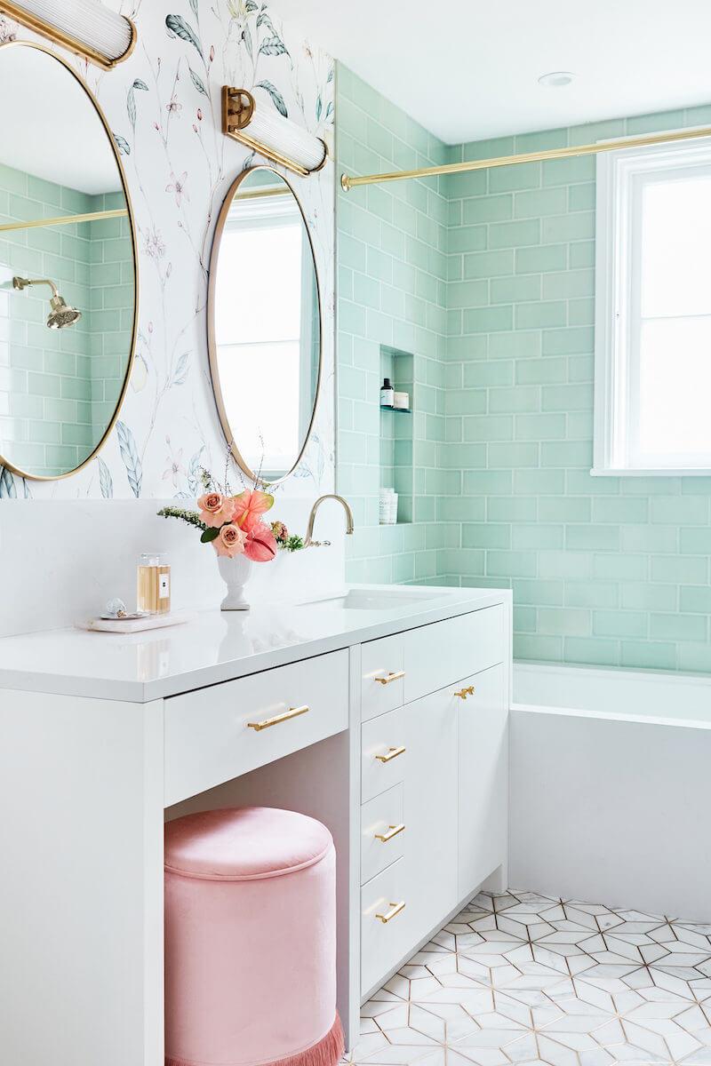Golden Aged Mint Green Modern Bathroom