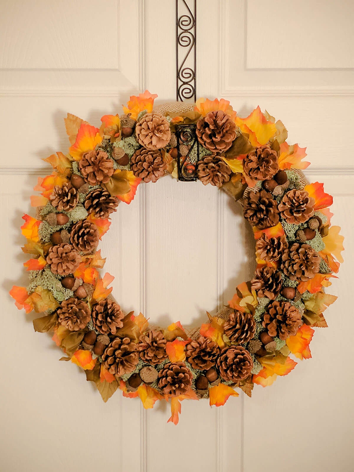 Pine Cones and Leaves Beautiful Wreath