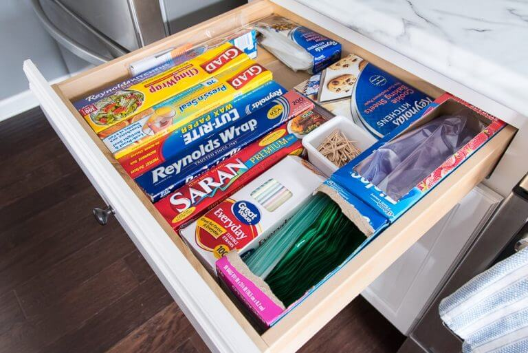 Drawer Organization for Wraps and Bags