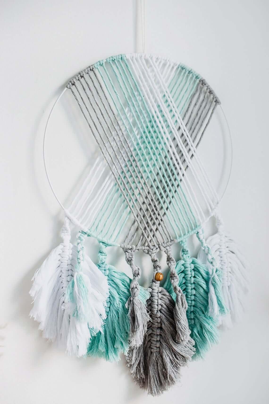 Bohemian Crocheted Mint and Grey Dreamcatcher