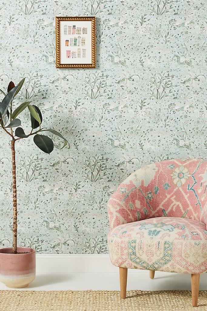 Natural Botanical Fields Mint Green Wallpaper