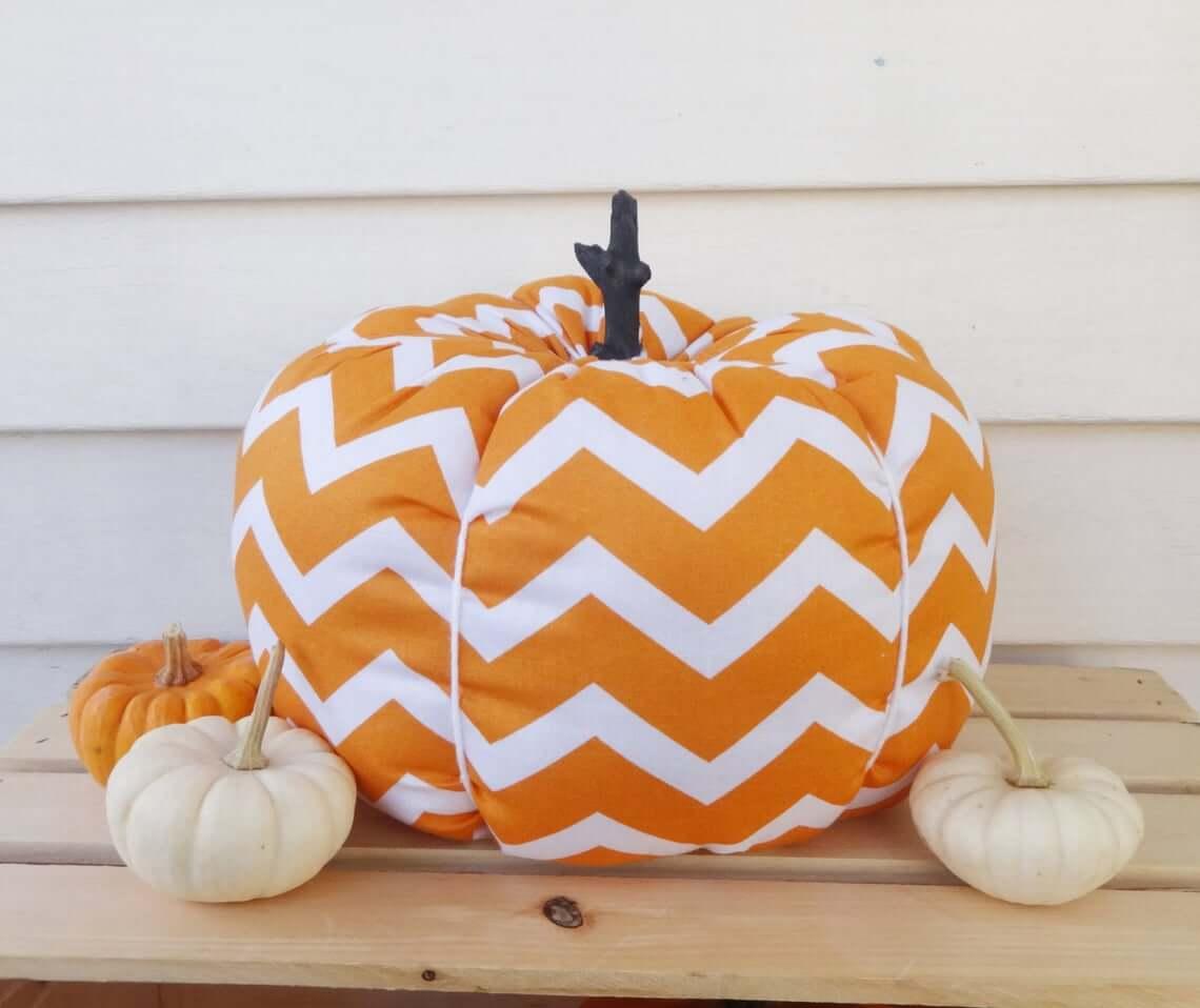 Orange and White Chevron Pumpkin