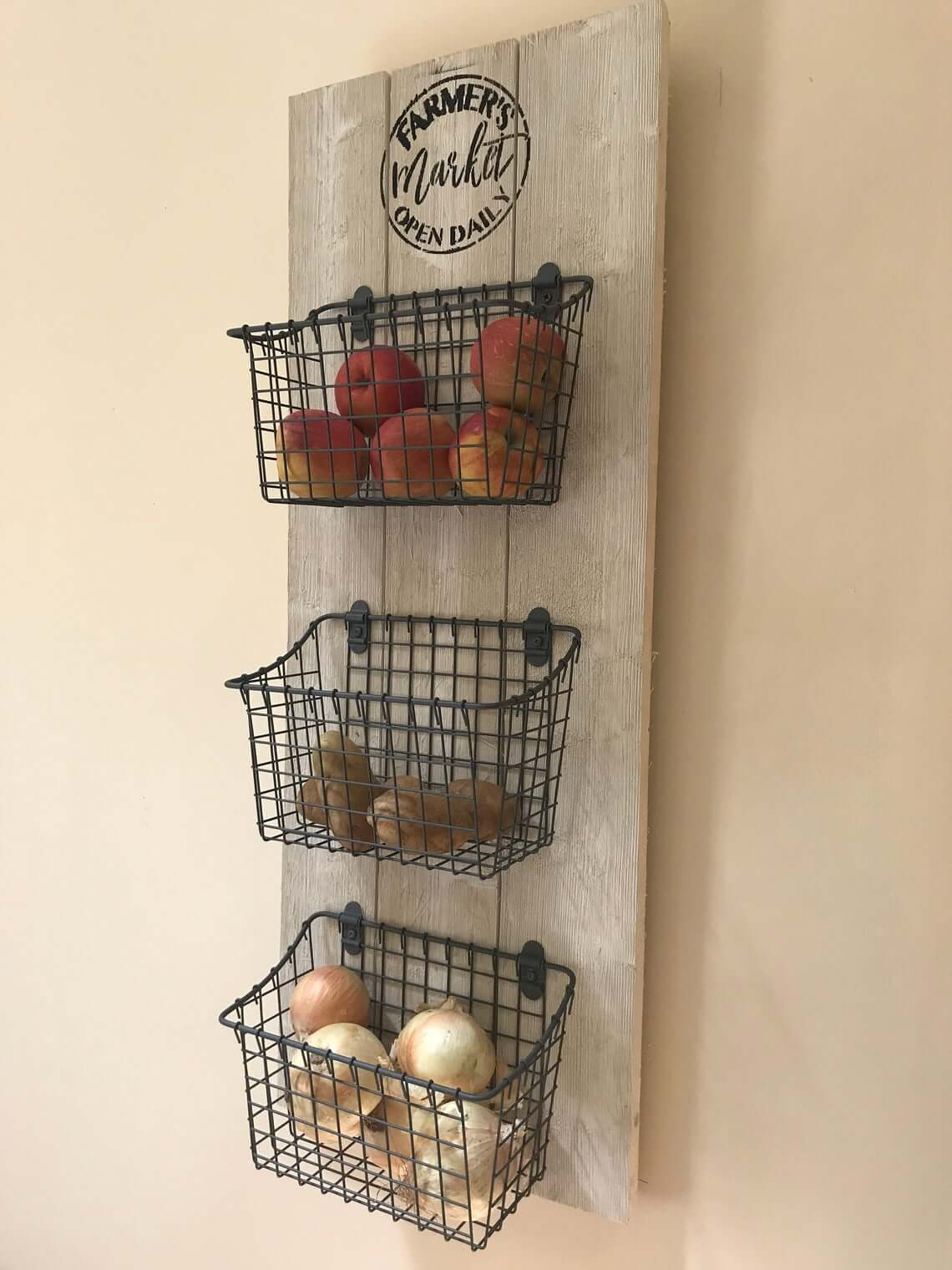 Farmer's Market Hanging Kitchen Organizer with Baskets