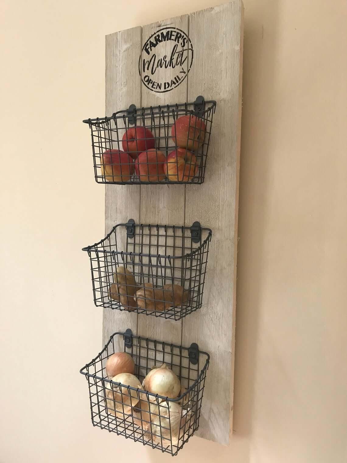 Farmer's Market Hanging Kitchen Organizer with Baskets