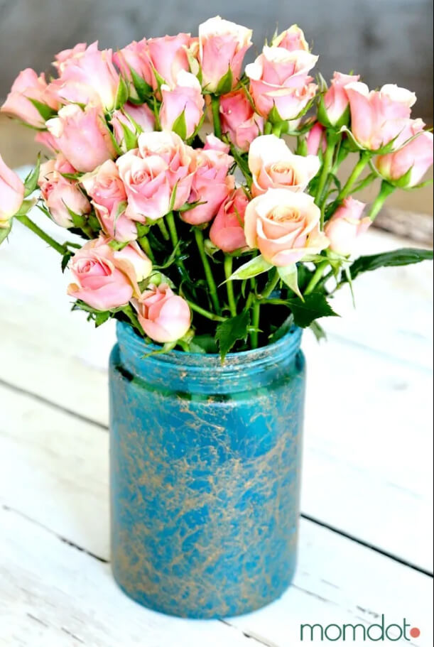 Mesmerizing Marbled Mason Jar Flower Vase