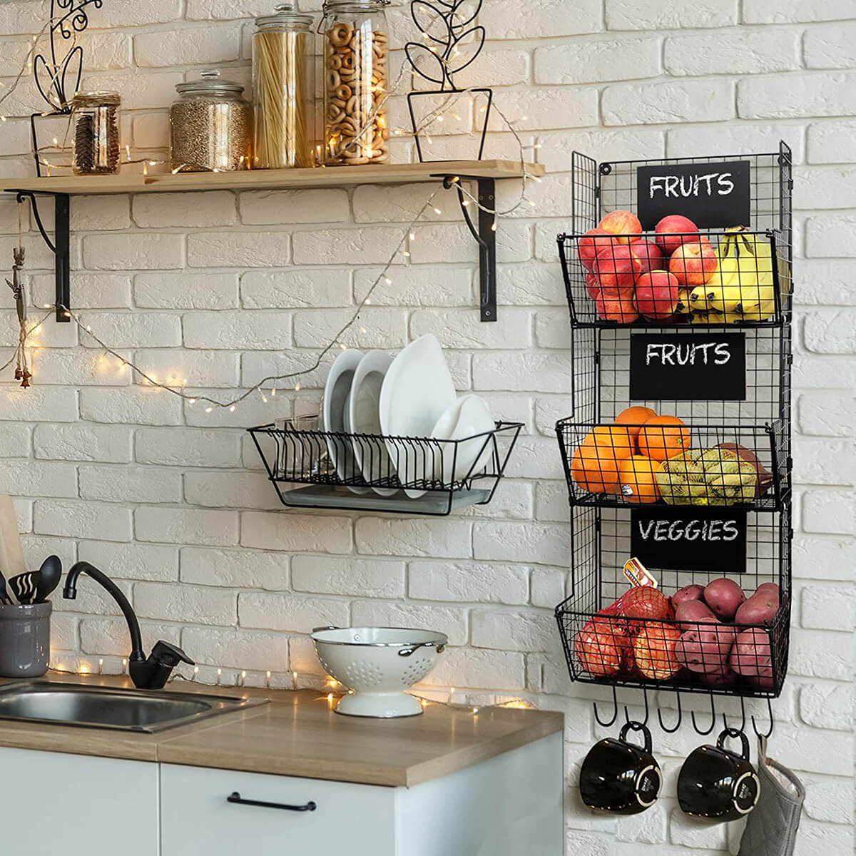 Fruit and Vegetable Hanging Storage with Hooks