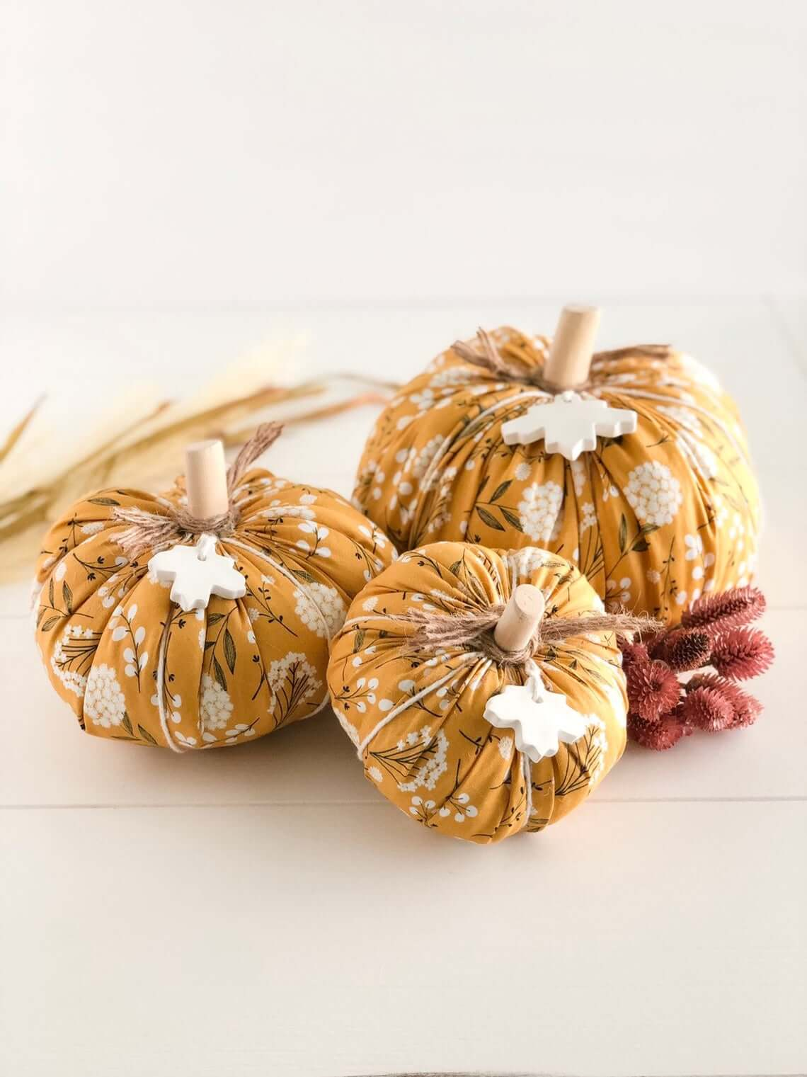 Dainty and Feminine Mustard Fabric Pumpkins