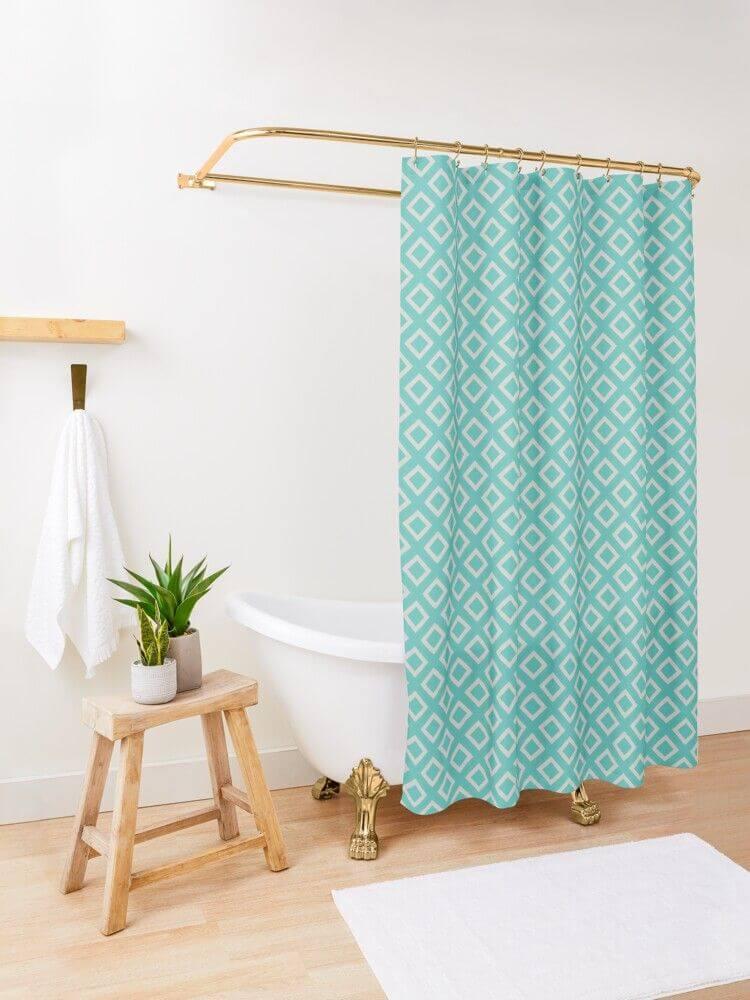 Dark and Light Mint Diamond Shower Curtain