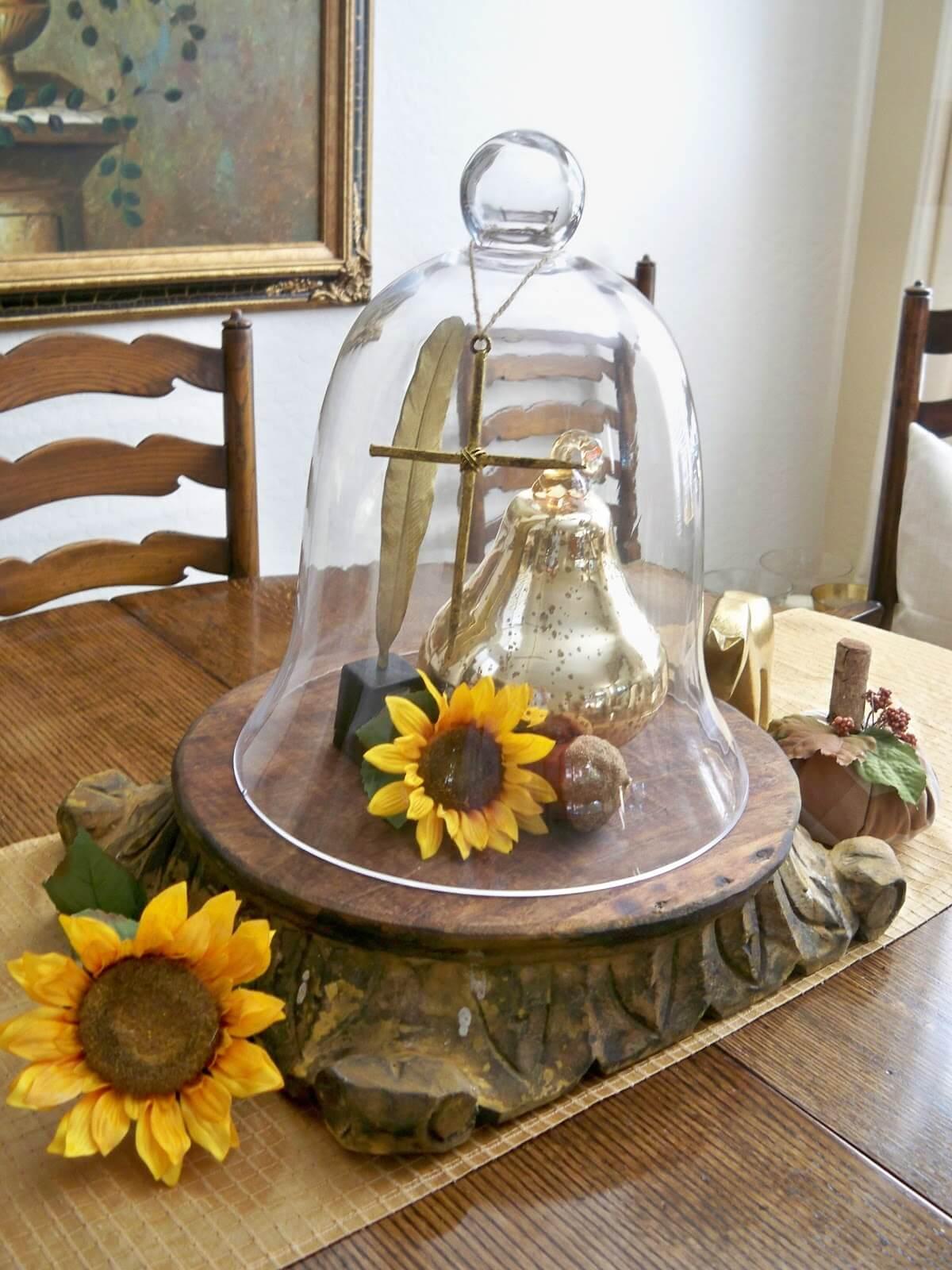 Interesting and Unique Glass Cloche Centerpiece