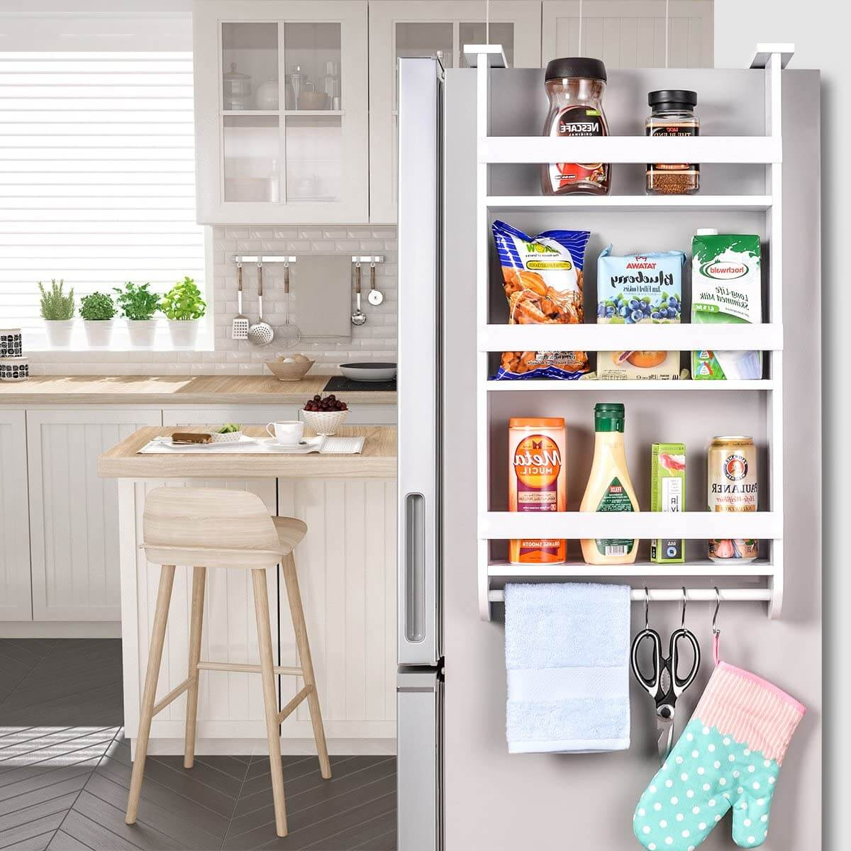 Wooden Side Shelf for Refrigerator with Rack
