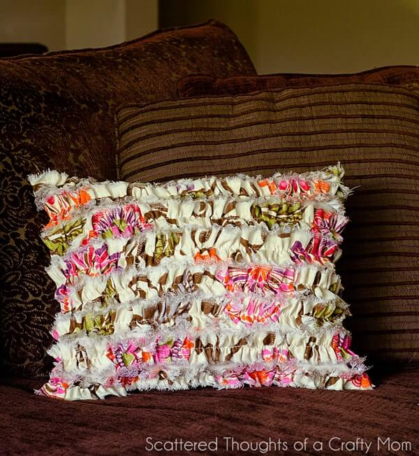Colorful Ruffled Shaggy Pillow Design