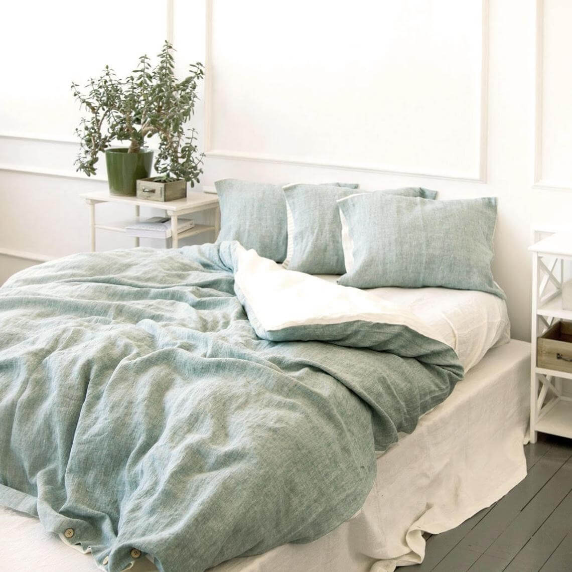 Mint Green Chambray Bedding with Matching Pillows