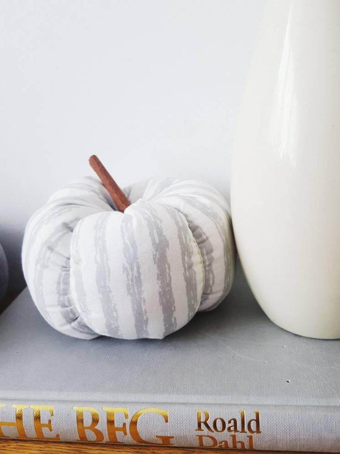Distressed Gray with White Stripes Fabric Pumpkin