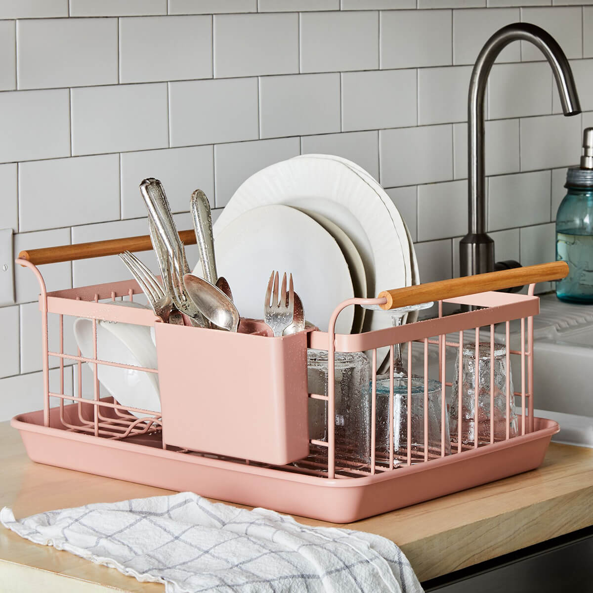 Stylish Dish Rack with Wooden Handles
