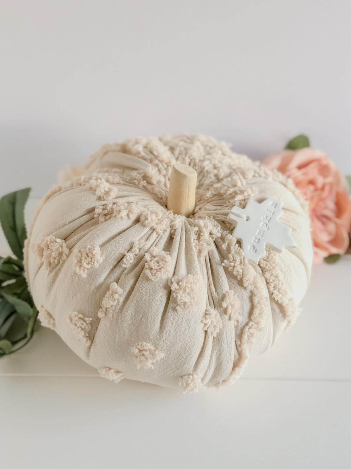Creamy Chenille Fabric Covered Pumpkin Decoration