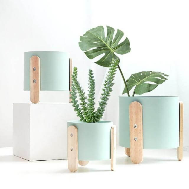 Modern Contemporary Cylinder Planters in Mint