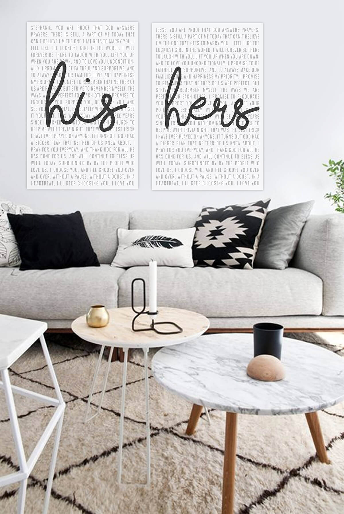 """His and Hers"" Text Art with Simple, Modern Decor"