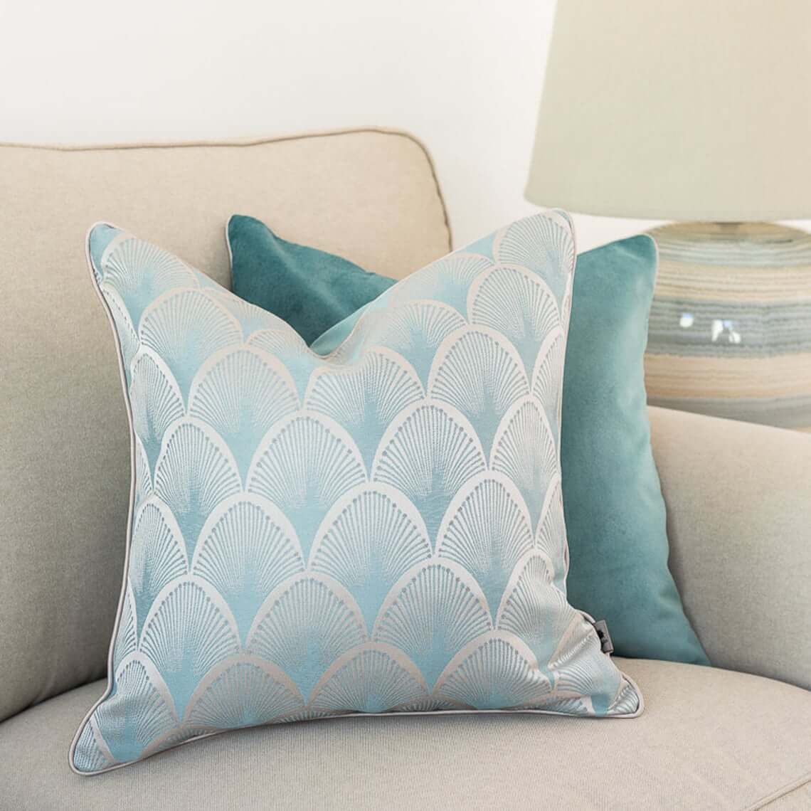Peacock Printed Mint and Turquoise Pillows