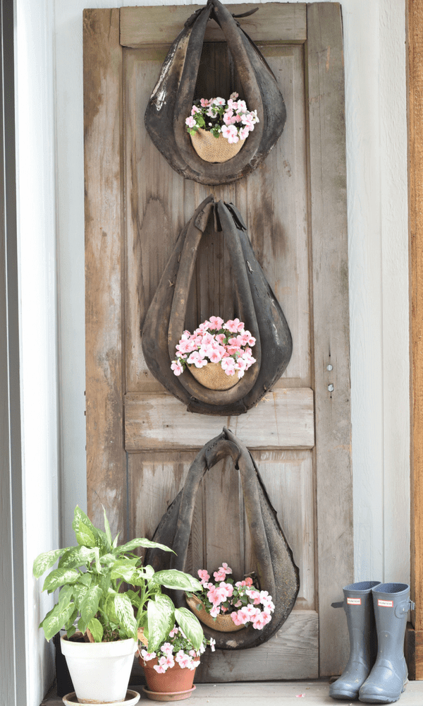 Trio of Leather Mule Collar Planters