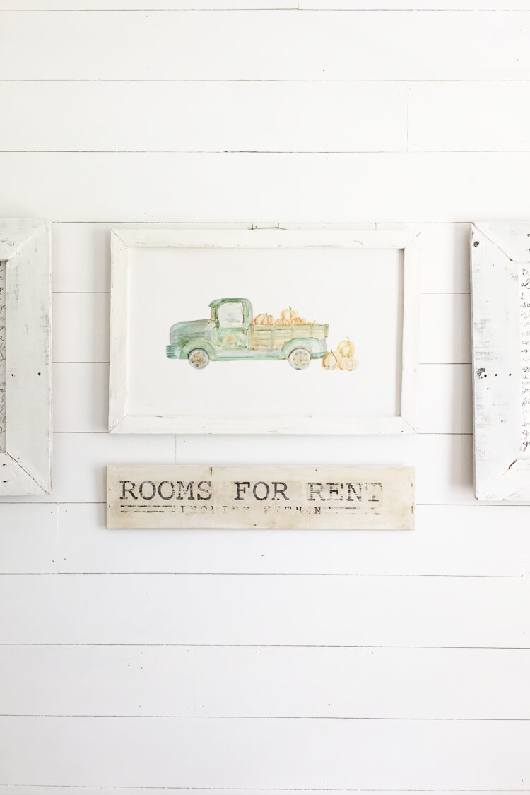 Vintage Green Old Truck Fall Print