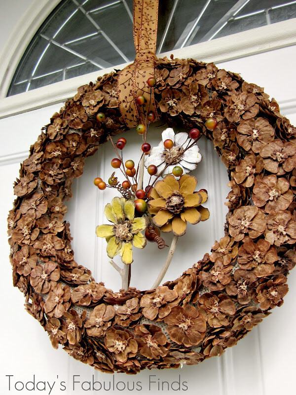 Autumn Inspired Brown Flower Wreath