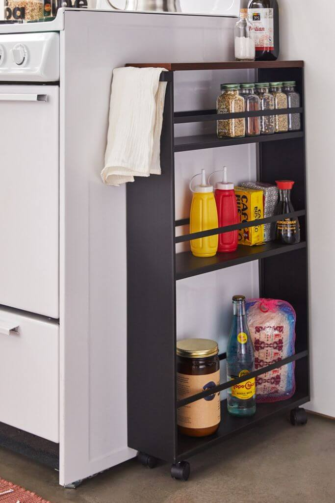 Slim Rolling Shelves for Spices and Bottles