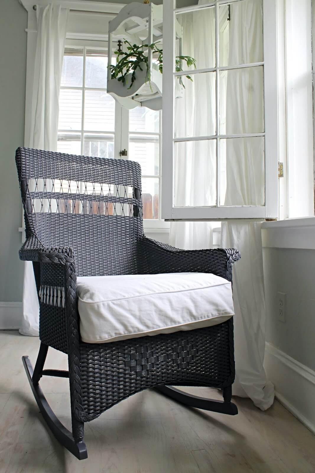 Painted Renewed Wicker Chair Overhaul