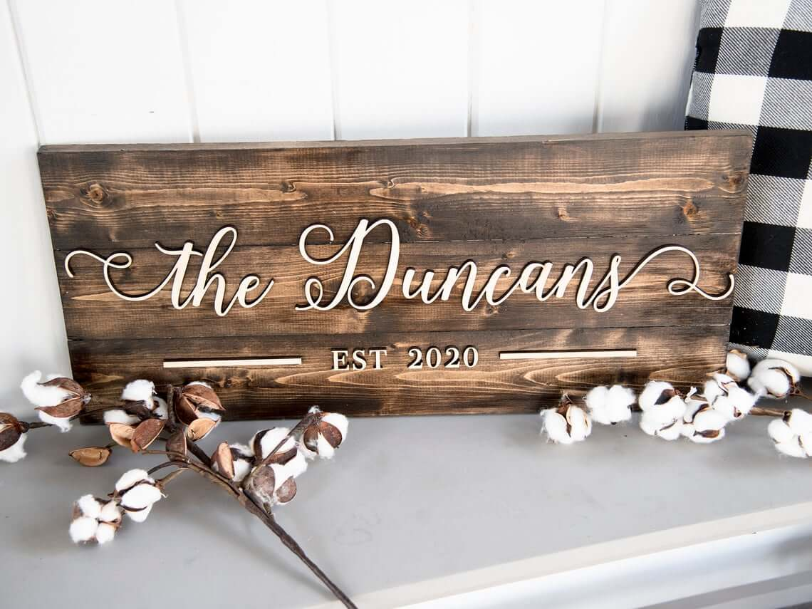 Personalized Name Sign for Entryway Decor