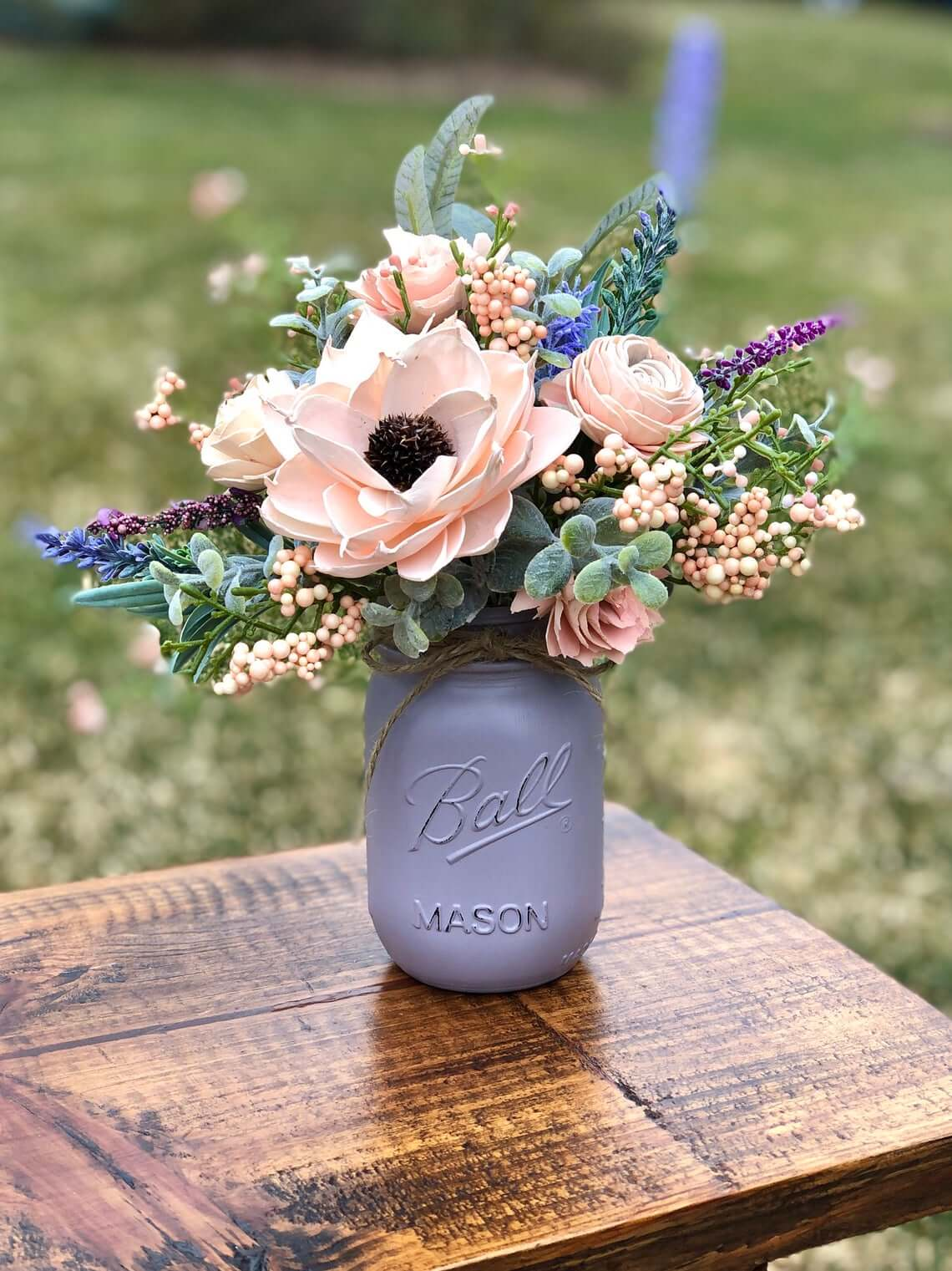 Purple Gray Painted Mason Jar Vase