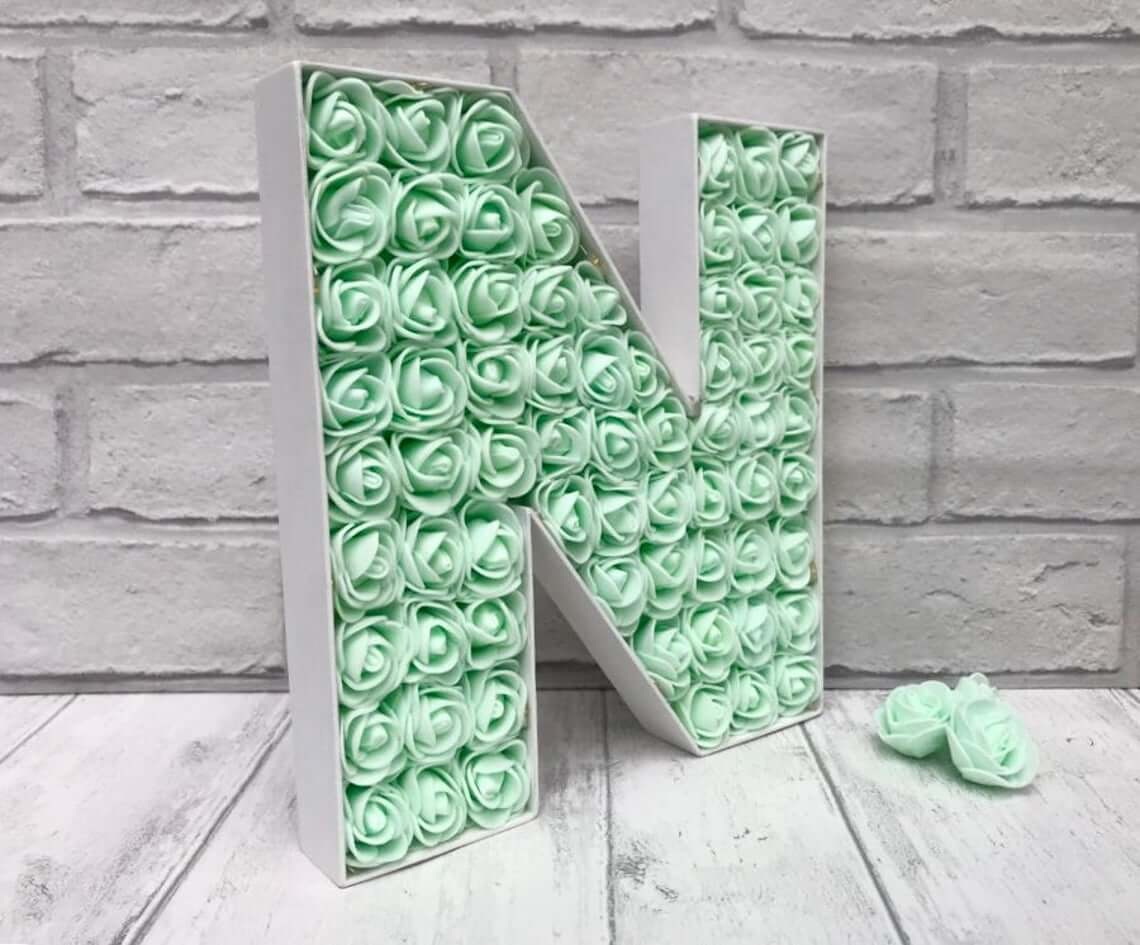 Mint Rosebuds Nestled in Your Initial