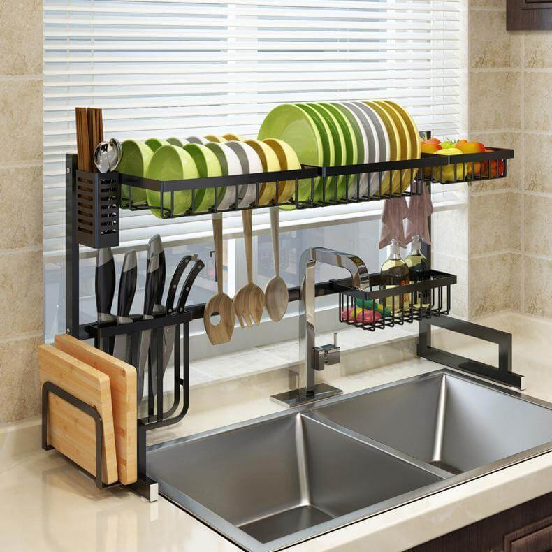 Over the Sink Dish Drainer and Storage