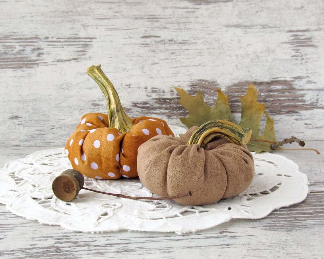 Fabric Pumpkin with Real Stem Fall Decoration