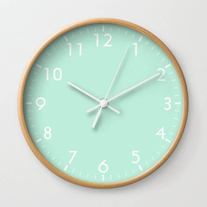 Classic Round School Clock in Mint Green