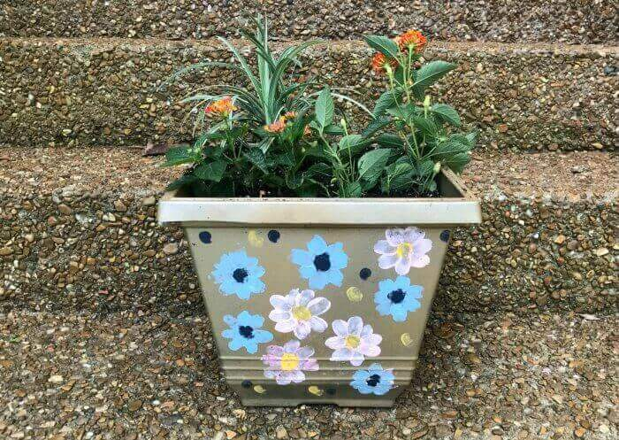 Plastic Planter with Hand Painted Flowers