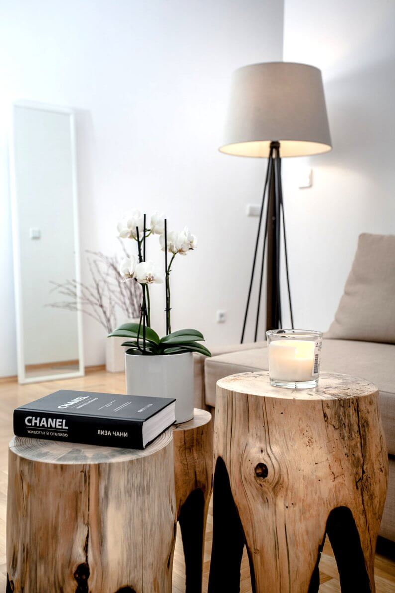 Artful Wooden Tables and Floor Lamp