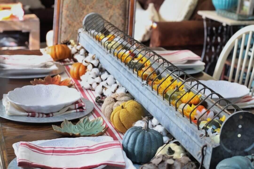 Metal Farm Trough Turned Dining Centerpiece