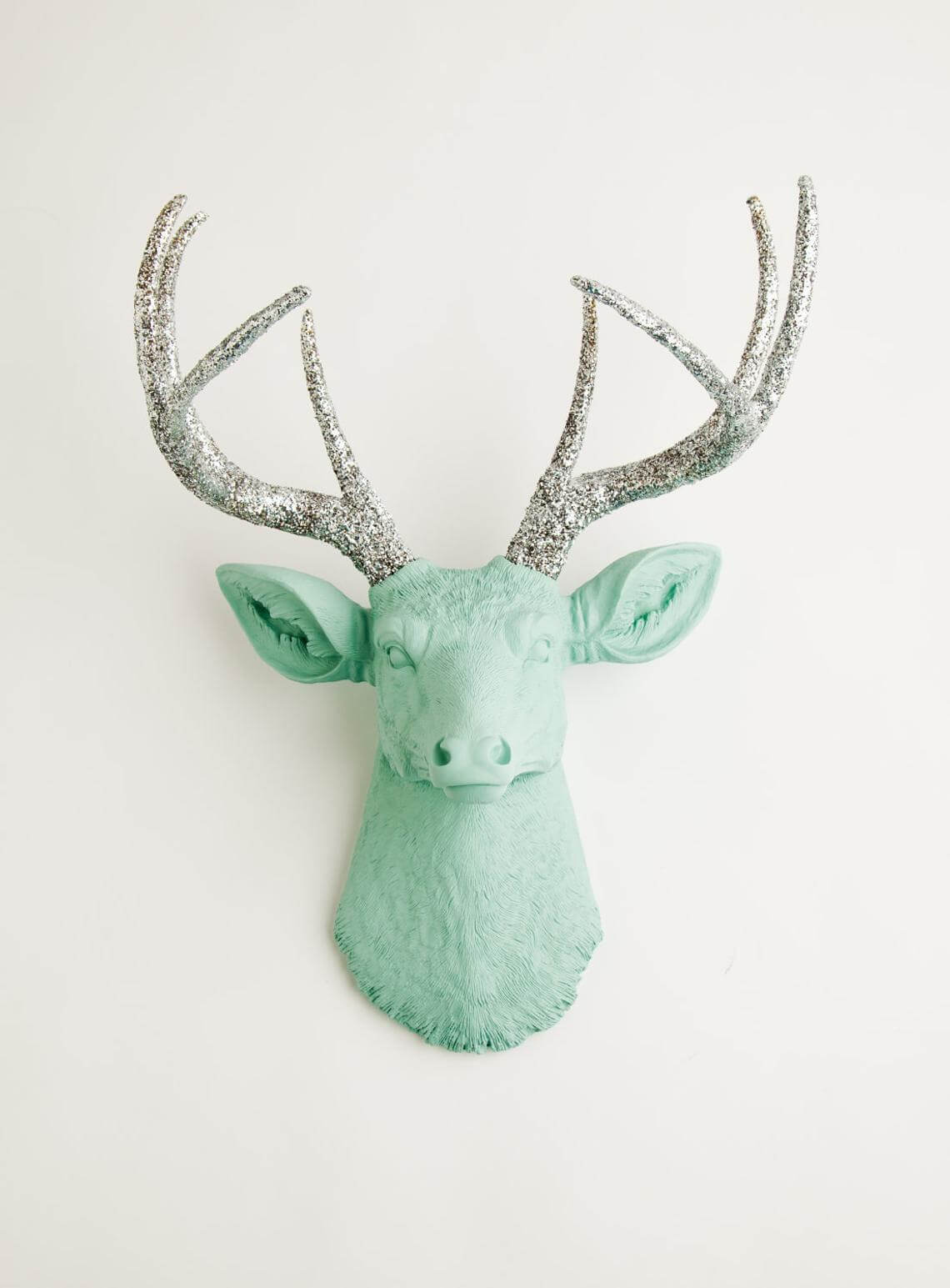 Mint Deer Head with Silver Glittered Antlers