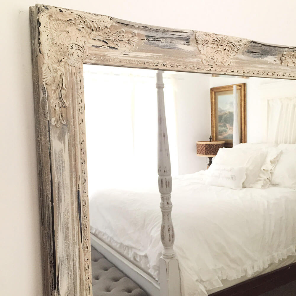 French Farmhouse Mirror with Distressed Wooden Frame
