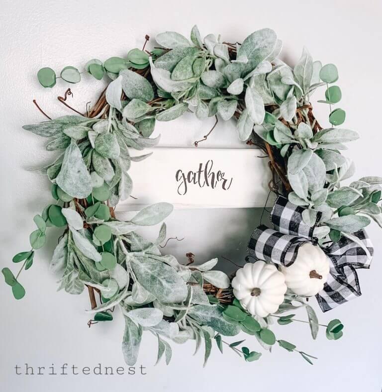 Eucalyptus with Black and White Gather Wreath