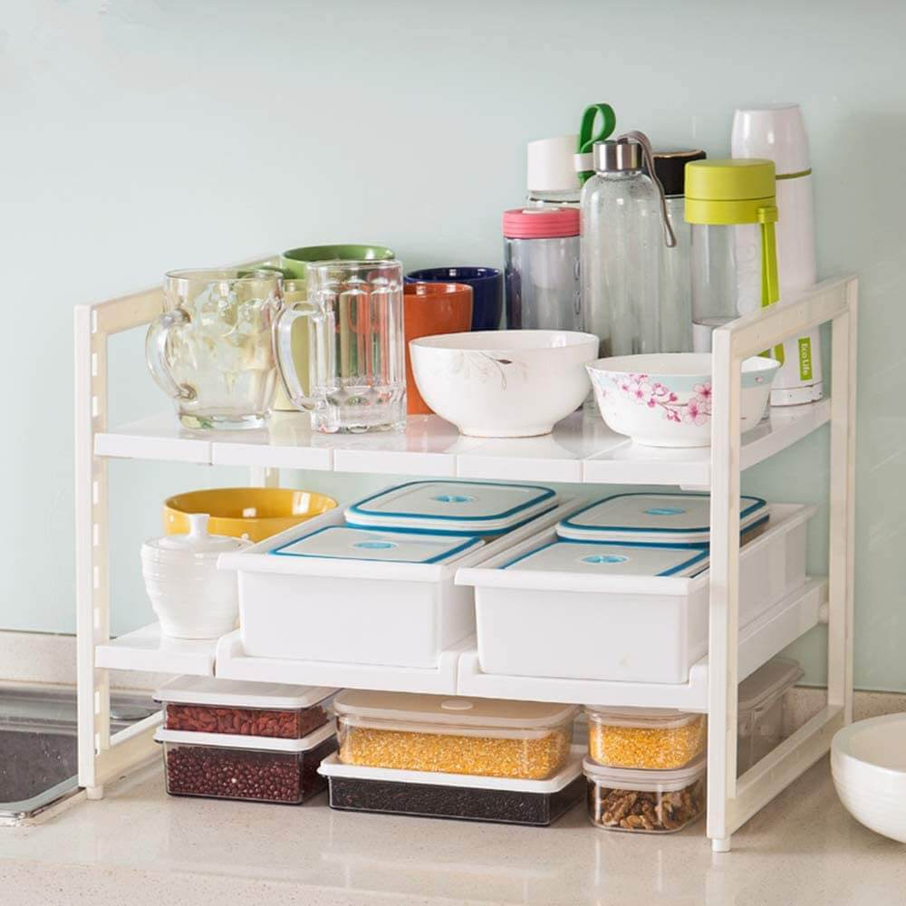 Two-Tiered Storage Rack with Removable Shelves