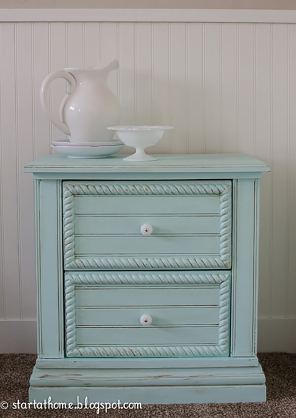 Traditional Bead Board Nightstand in Mint Green