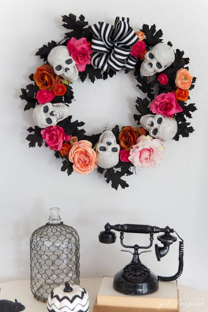 Skulls And Roses Black Pink Halloween Wreath