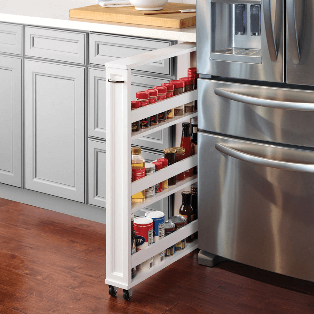 Spice Rack on Casters with Drawer Pull