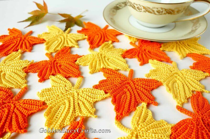 Yellow and Orange Crocheted Leaf Table Runner