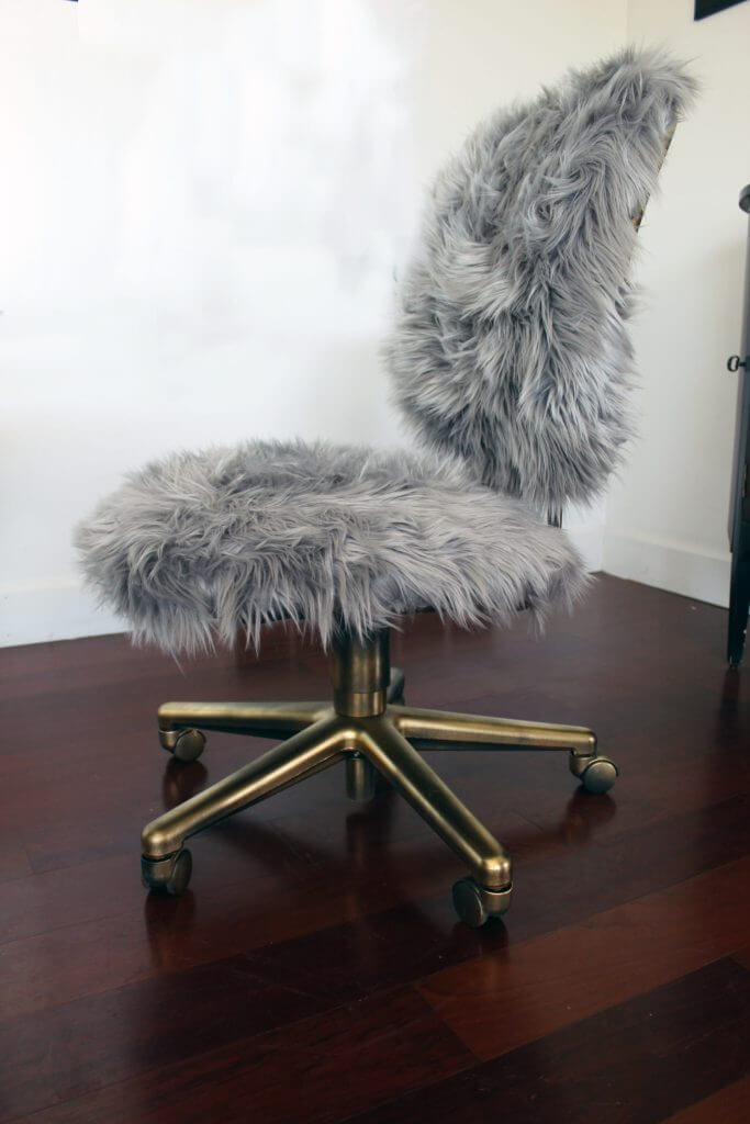 Glam Faux Fur Golden Office Chair