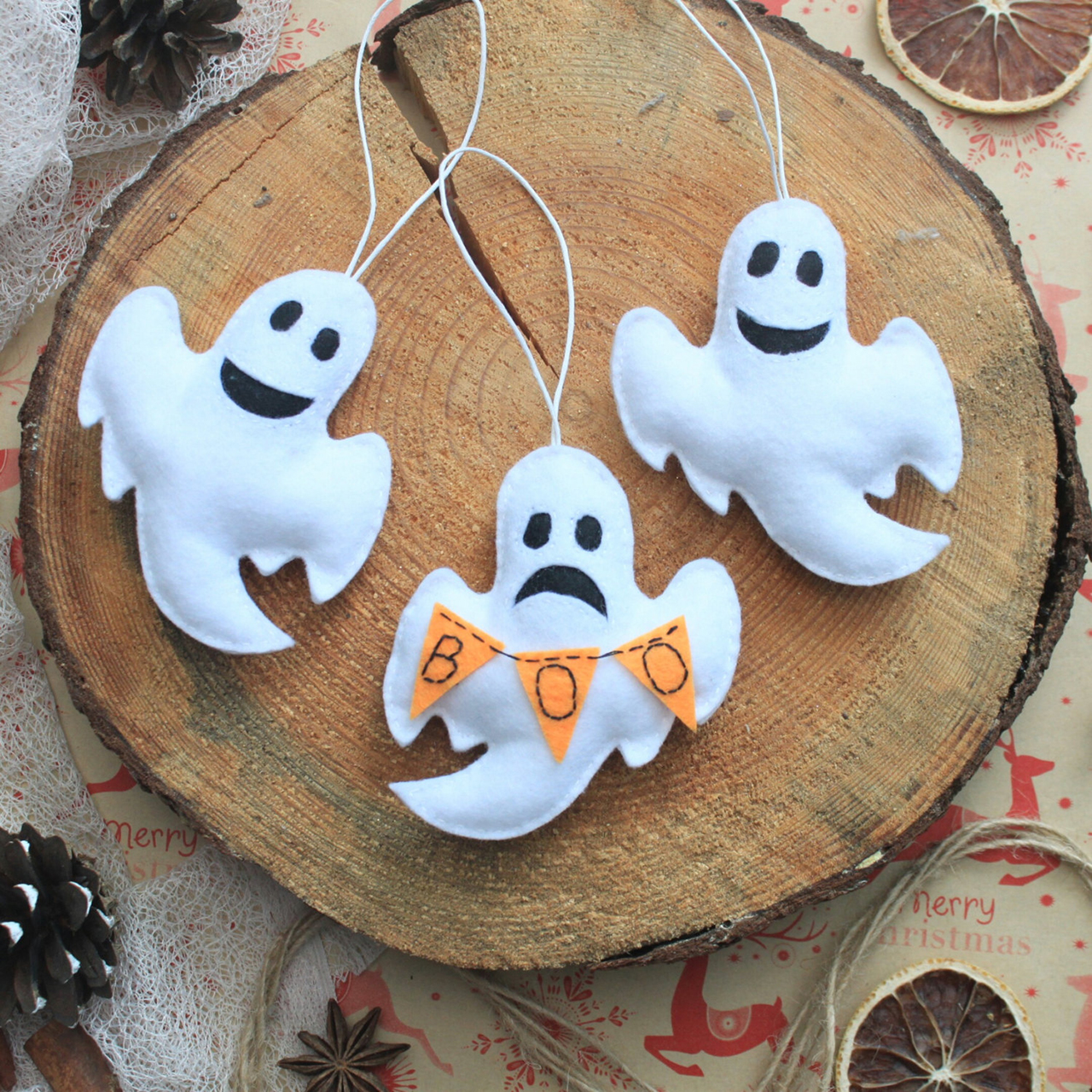 Plush Ghost Ornaments