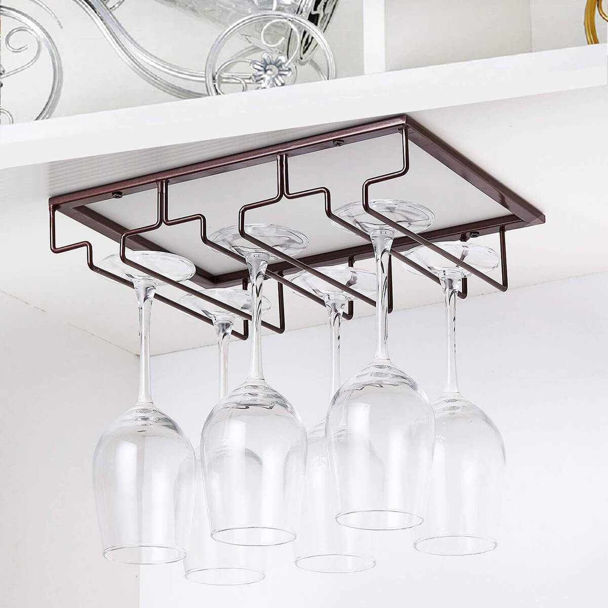 Under the Cabinet Wine Glass Storage