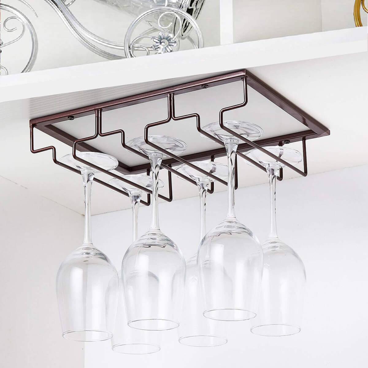 Under the Cabinet Wine Glass Storage