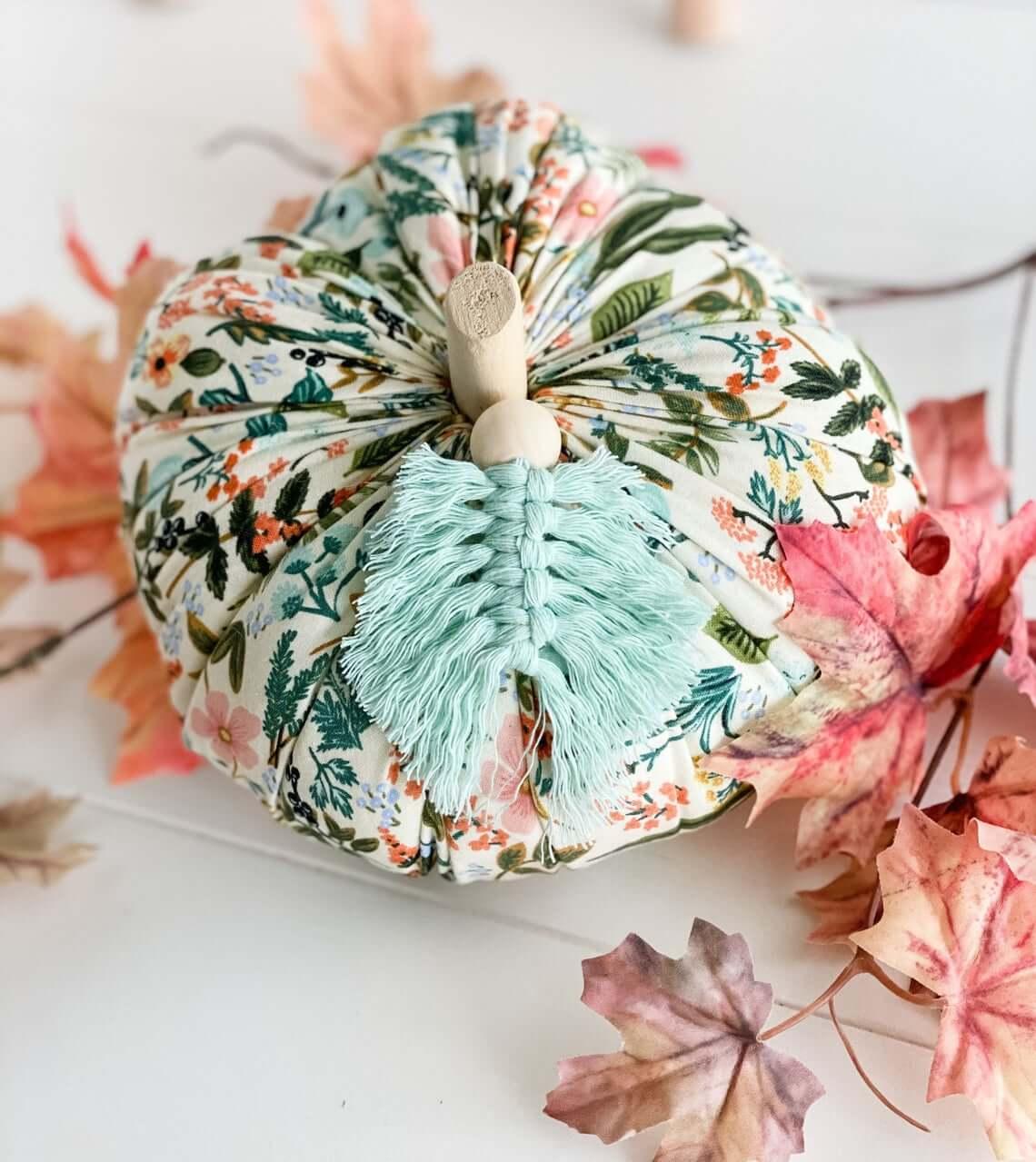 Vintage Floral and Colorful Tassel Leaf Pumpkin
